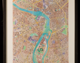 Map of Toulouse in 3D pastel colors with frame