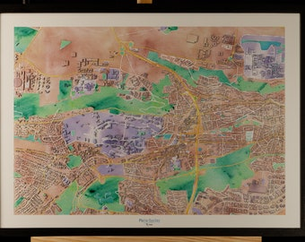 Map of the University of Paris-Saclay 3D pastel colors with frame
