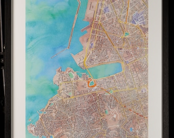Map of Marseille in 3D pastel colors with frame