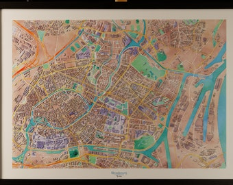 Map of Strasbourg in 3D pastel colors with frame