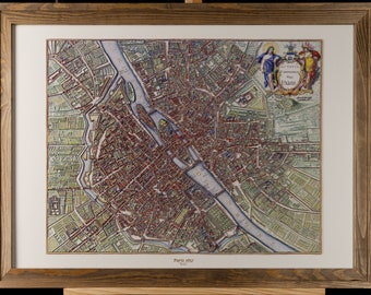 3D decorative map of Paris in 1657 with wooden frame