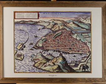 3D decorative map of Marseille in 1575 with wooden frame