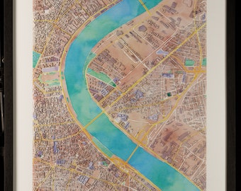Map of Bordeaux in 3D pastel colors with frame