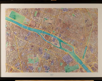 Map of the center of Paris in 3D pastel colors with frame