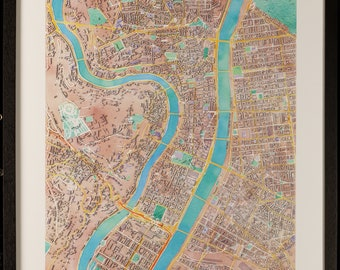 Map of Lyon in 3D pastel colors with frame