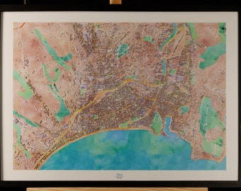 Map of Nice in 3D pastel colors with frame