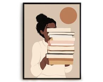 Black Woman Reading Art, Boho Woman print, Afro American art , Book Lover Art, Abstract Female Print, Library Wall Art, Black girl print