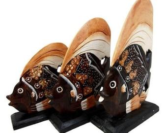 Balinese Wood Handicrafts Tropical Solar Angel Fish Family Set of 3 Figurines