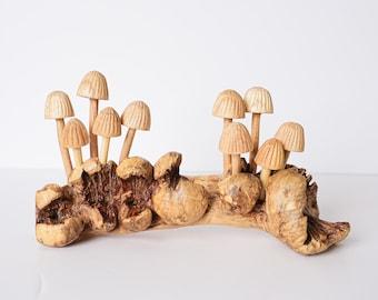 Hand Carved Mushroom Wood Keychain