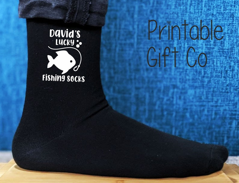 Great Birthday Gift Father/'s Day Gift for Daddy Printed and Personalised Men/'s Gift Daddy/'s Lucky Fishing Socks Christmas Gift