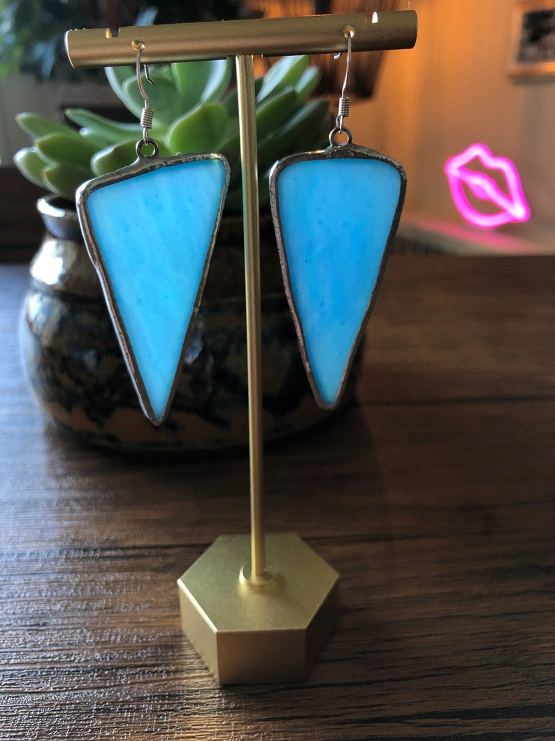 Iridescent Blue Stained Glass Earrings
