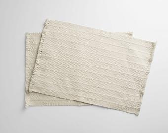 100% Organic Cotton Woven Placemats (Pair) - Cream