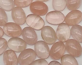 10 Pieces Natural Rose Quartz Cabochon Lot 7x9mm Oval Shape Cab Rare Rose Quartz Gemstone Smooth Loose Stones Calibrated Cabs C-18061