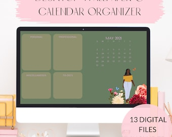 2021 Desktop Wallpaper Organizer Instant Digital Download, Black Girl Magic, Desktop Calendar