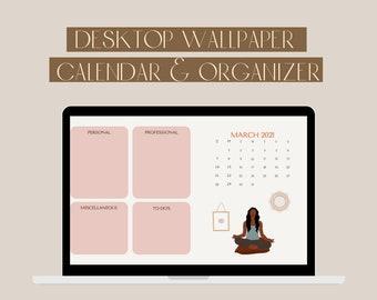 2021 Minimalist Desktop Wallpaper Organizer Instant Digital Download, Pink and Neutrals Desktop Calendar