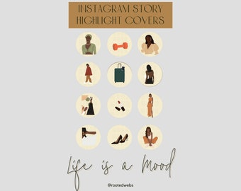 Black Girl Life is a Mood, Boss Lady, Instagram Story Template, Canva Icon Template, DIY Highlight Cover, IG Highlight Cover, IG Icons