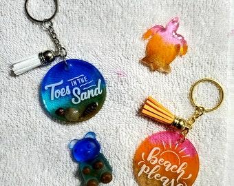 Colorful hand made keychain Hand painted ocean keychain Purple keychain Boat keychain wooden round keychain Beach sunset keychain