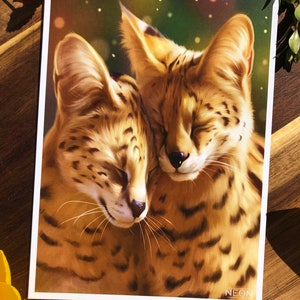Signed by artist. Serval lithograph by Richard Younger