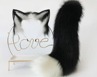 white black fox ear and tail set wolf ear and tail set petplay ear fox tail cosplay ear wolf tail plug cat ear and tail butt plug set mature