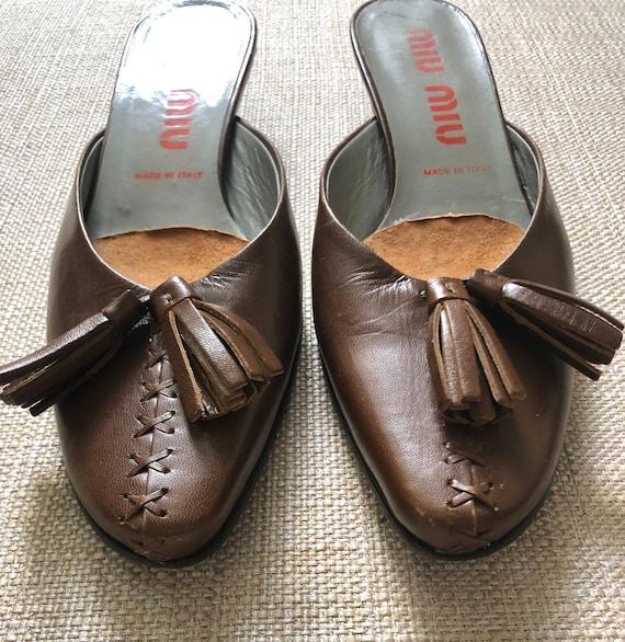 Vintage 90s Miu Miu Mules/Slides in Chocolate Bro… - image 5