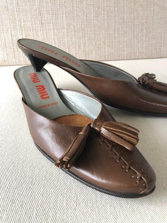 Vintage 90s Miu Miu Mules/Slides in Chocolate Bro… - image 1