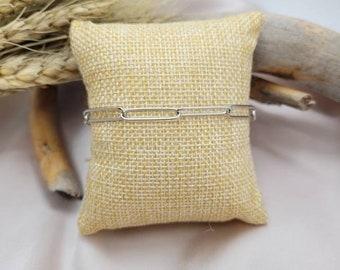 Bracelet mesh rectangle / pin in stainless steel.