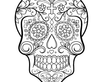 Skull Coloring Page Etsy