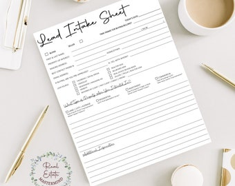 Lead Intake Sheet   Real Estate   Real Estate Agent   Instant Download   PDF   Lead Form   Real Estate Printable