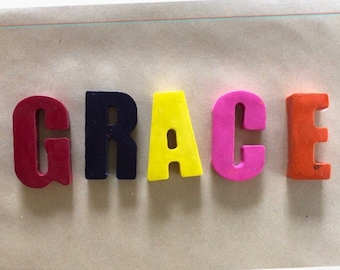 Handmade Name Crayons Available in Shapes Letters and Alphabet - Easter Christmas or Birthday Gift