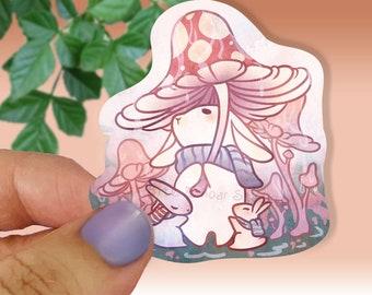 Cute Cottage Core Mushroom Umbrella Bunny Sticker, Fungi Lovers , Holographic, Waterproof, Weatherproof Kawaii Sticker for planner and decor
