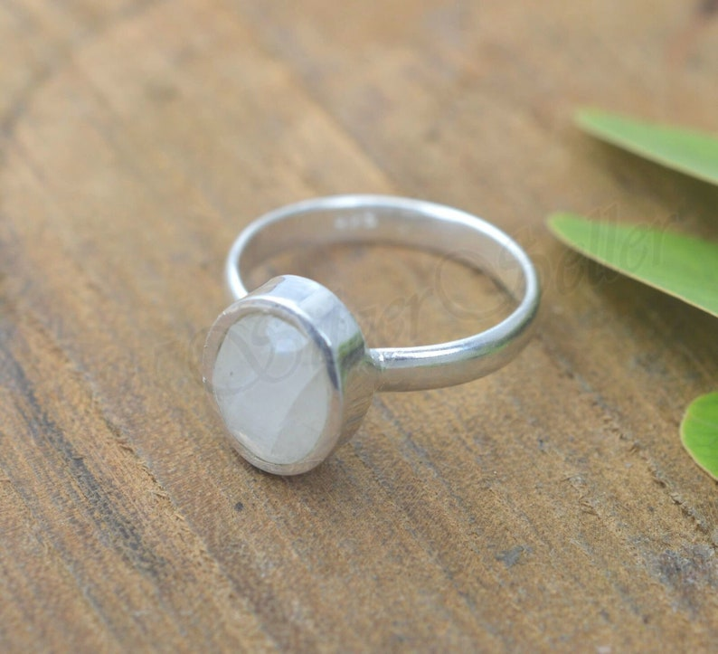 Moonstone Silver Ring Gift For Wife Artisan Ring Handmade Silver Ring Oval Stone Ring Wedding Gift Sterling Silver Natural Stone Ring