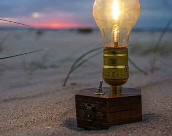 Travel-Gadget: BEACH Lamp TIMEBULB | accu/battery wireless table lamp | backpacker vans hiking picnic outdoor | Qi charging cordless Present