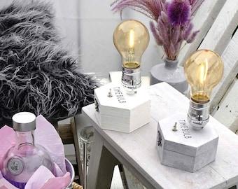 Ltd.Edition: 1/50 Chalk Gray/White Cordless Lamp | Shabby Farmhouse | Friend Present Gift | Battery Edison LED | wireless table lamp decor