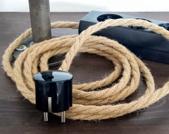 Hanfkabel Steckerleiste 3x 6x | Mehrfach-Steckdose | Verlängerungskabel Hanfseil Stoffkabel Textilkabel | Bakelit Optik Kabel Jute Hemp Rope