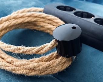 Hanfseil Kabel Steckerleiste 3x 6x | Mehrfach-Steckdose | Verlängerungskabel Hanfkabel Stoffkabel Textilkabel | Bakelit Optik Jute Hemp Rope