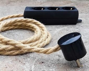 Hanfseil Steckerleiste 3x 6x | Mehrfach-Steckdose | Verlängerungskabel Hanfkabel Stoffkabel Textilkabel | Bakelit Optik Jute Kabel Hemp Rope