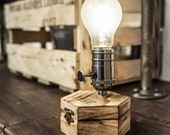 Cordless Table Lamp | TimeBulb CARGO | Flamed Palette Wood | Indoor & Outdoor | Friend Present Gift | Wireless Battery Edison LED |