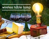 Outdoor Picnic Lamp TIMEBULB | accu/battery powered wireless table lamp for picnic & garden decoration | Qi charging cordless accu | Present