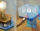 Qi KIT: Cordless Lamp + Charger Plate by TIMEBULB - wireless table Lamp PLUS Qi charging pad | Present for my Best Friend | accu led gold