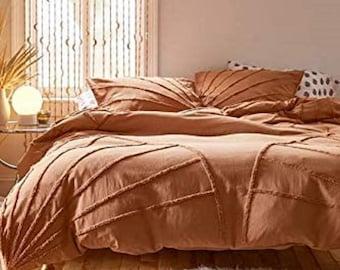 Burnt Orange Terracotta Tufted Cotton Duvet Cover set, Boho Bedding comforter Cover with Pillowcases, Home Decor Down Duvet Bedding Set