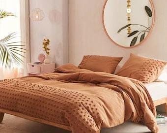 3- piece Terracotta Dot Tufted Cotton Duvet Cover set, Luxury Boho Bedding, Down comforter Cover, Pillowcases, Home Decor, Duvet Bedding Set