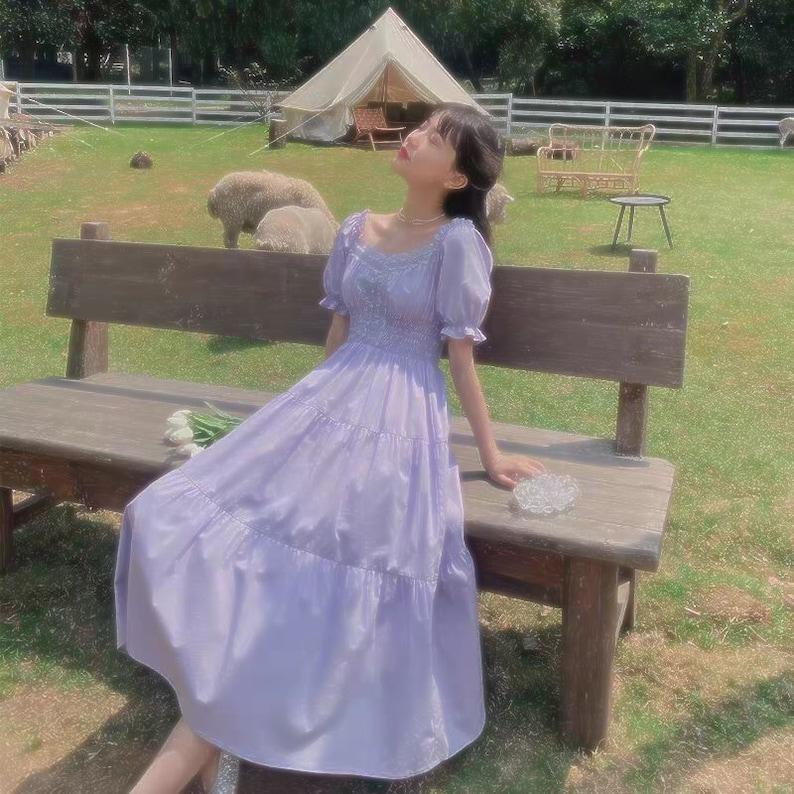 CottageCore Purple Elegantes Vintage Aesthetic Summer Fairy Women's Dress