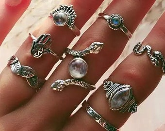opal crystal round bead stone wire wrapped ring handmade silver y2k witchcraft