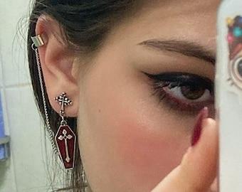 Goth ear cuff earring, coffin earring, egirl vampire jewelry, grunge gothic aesthetic, chain earring, 90s cross earrings S2