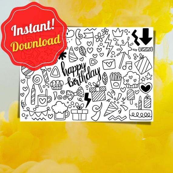 Coloring Page Birthday Happy Birtday Coloring Card Pdf