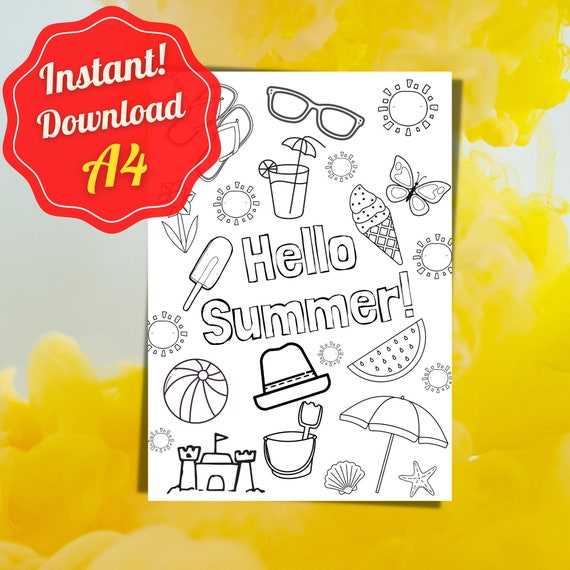 Summer Colouring Page Holiday Coloring Page Quote Coloring