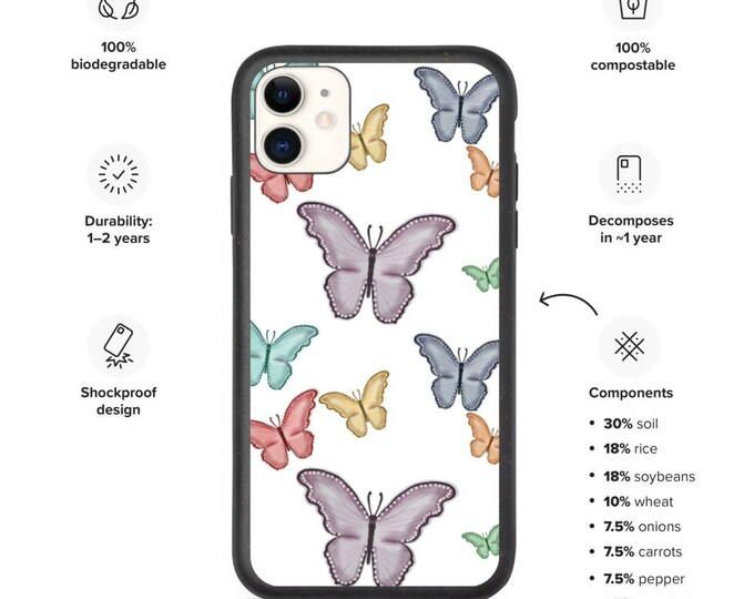 Butterflight Bonanza Biodegradable phone case