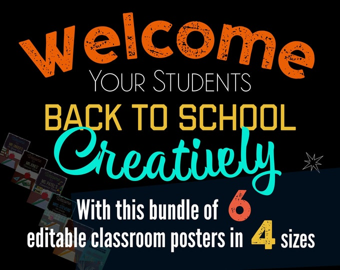 Featured listing image: Welcome Back to School Editable Classroom Poster PDF Templates, Digital Print, Classroom Decor