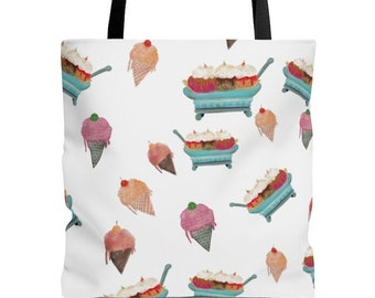 Ice Cream Party Themed All Over Print Tote Bag