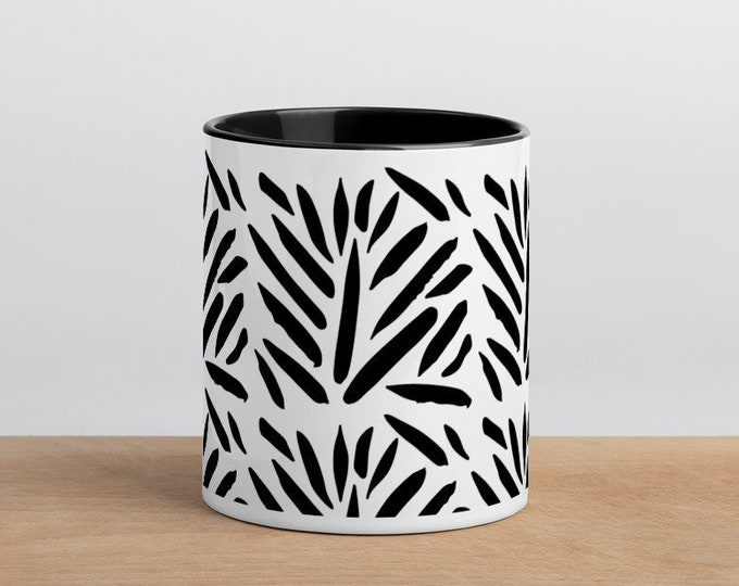 Abstract Black & White Mug with Color Inside